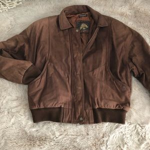 Vintage thinsulate brown leather bomber jacket